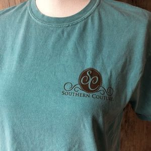 Tops - Southern couture teal blue shirt sleeve shirt